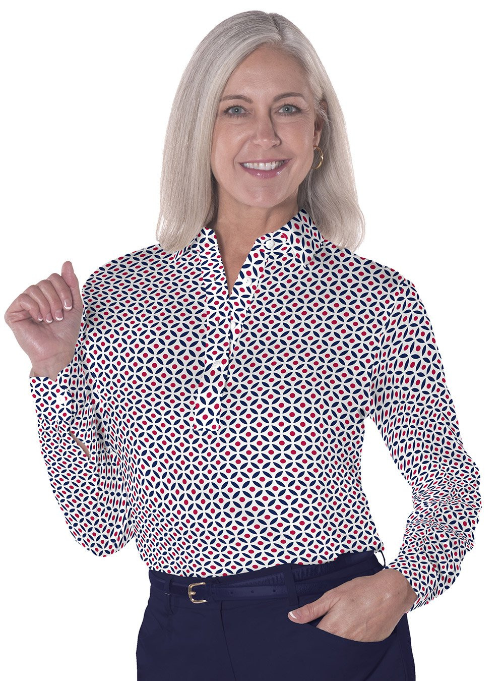 Long Sleeve Print Polo</br>Dot Matrix 10U