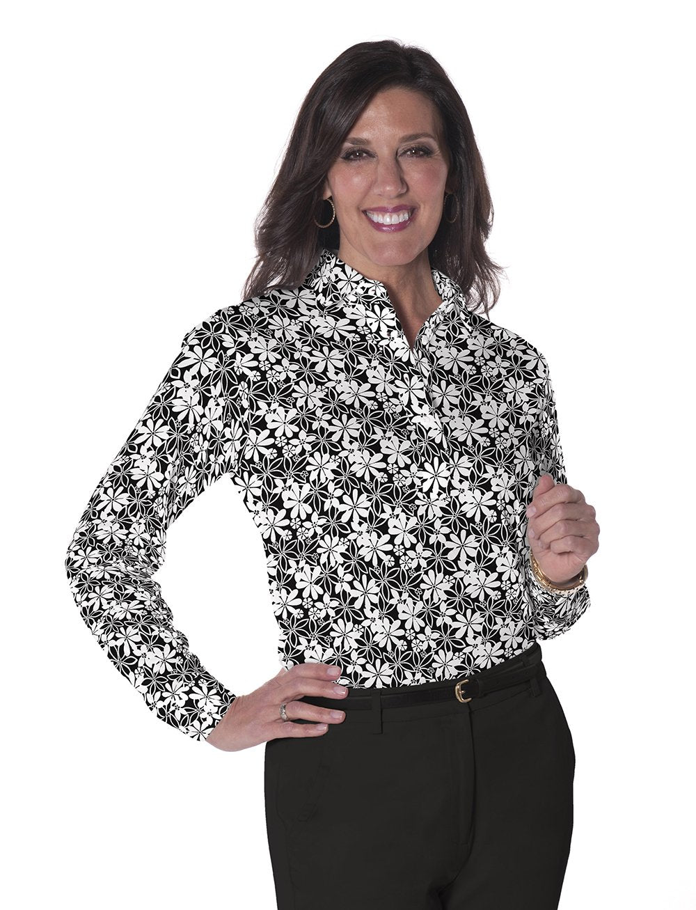 Petite Long Sleeve Print Polo</br>Sweet Serenade 11L