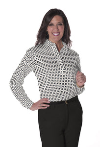 Ladies Long Sleeve Print Polo Shirts | Dot Matrix 11M - Leonlevin