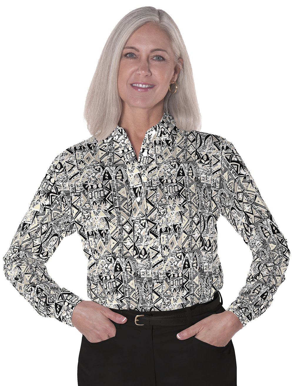 Long Sleeve Print Polo</br>Subtle Impact 11N
