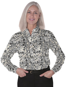 Petite Long Sleeve Print Polo</br>Subtle Impact 11N - Leonlevin