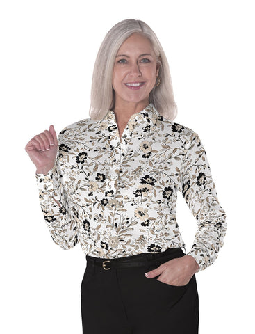 Ladies Long Sleeve Print Polo Shirts <br> Easy Breezy 11S