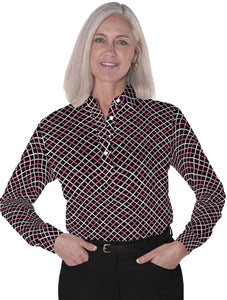 Petite Long Sleeve Print Polo</br>Intersection 12A