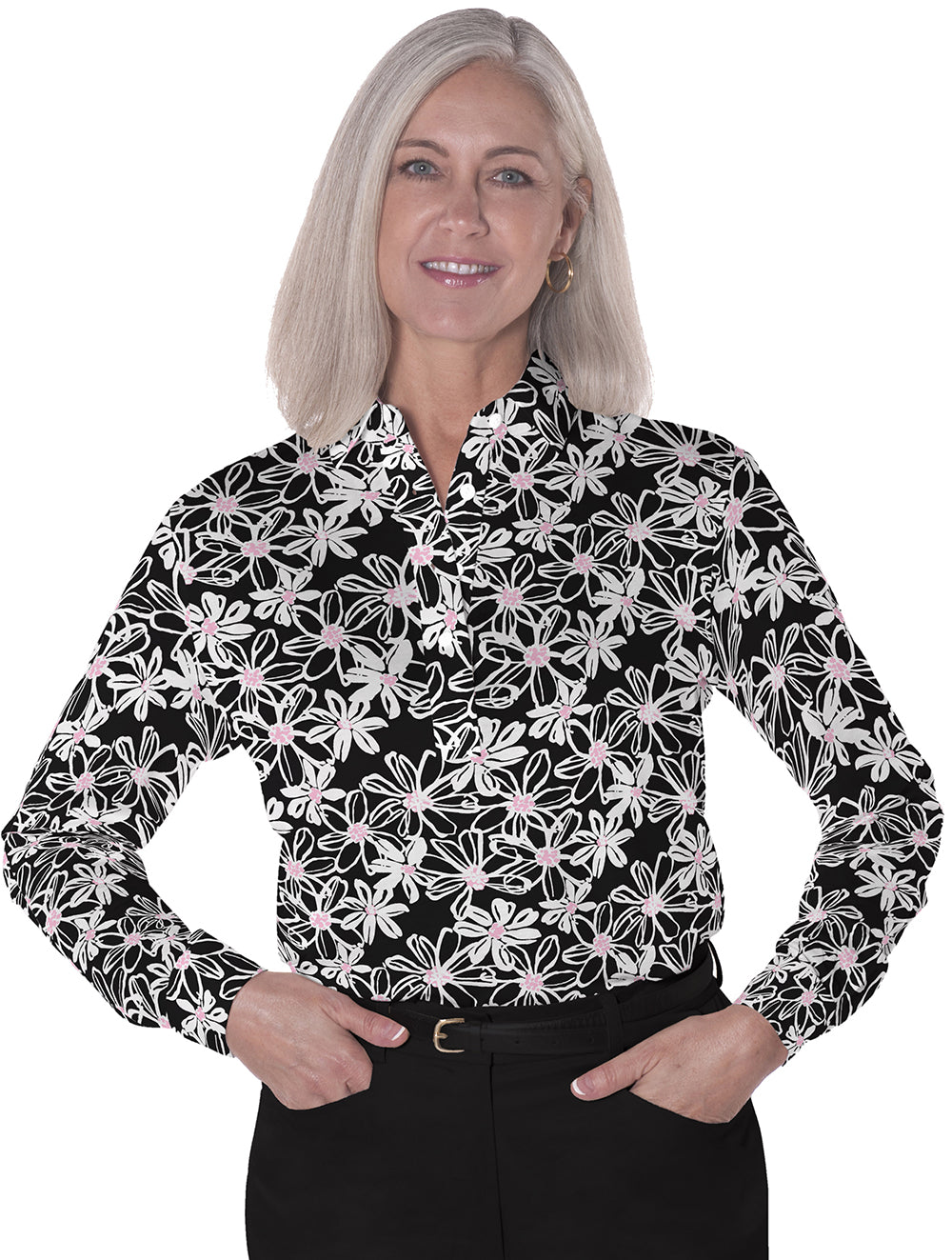 Long Sleeve Print Polo</br>Moonlight Serenade 12E