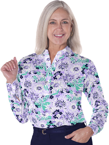 Petite Long Sleeve Print Polo</br> Always and Forever 14D