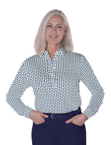 Petites Long Sleeve Print Polo Shirts</br>Dot Matrix 15B
