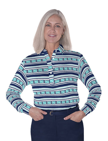 Petites Long Sleeve Print Polo Shirts</br>All Ashore! 15C