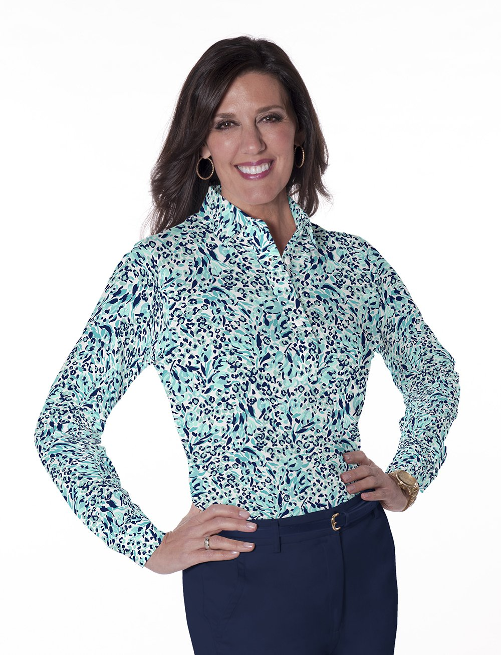 Long Sleeve Print Polos</br>Jungle Flower 15E - Leonlevin