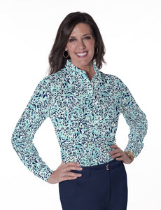 Petites Long Sleeve Print Polo Shirts</br>Jungle Flower 15E