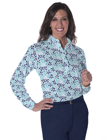 Petites Long Sleeve Print Polo Shirts</br>Sweet Serenade 15F
