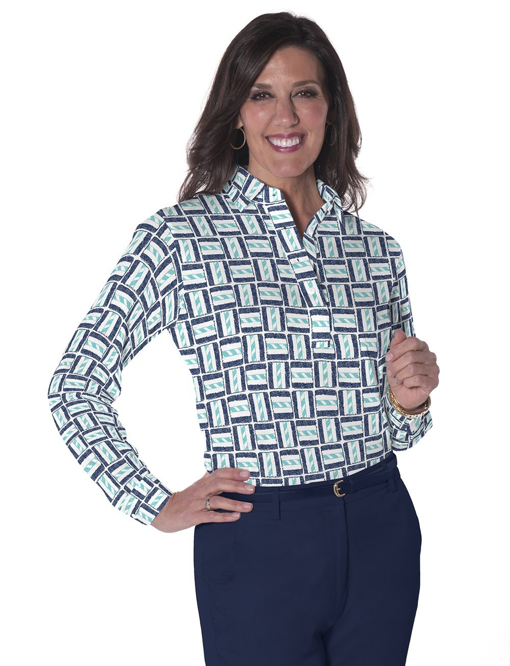 Petites Long Sleeve Print Polo Shirts</br>Hey Sailor! 15G