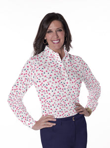 Petites Long Sleeve Print Polo Shirts | Cherry Jubilee 16B - Leonlevin