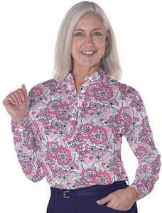 Petites Long Sleeve Print Polo Shirts</br>Toss Up 16F - Leonlevin