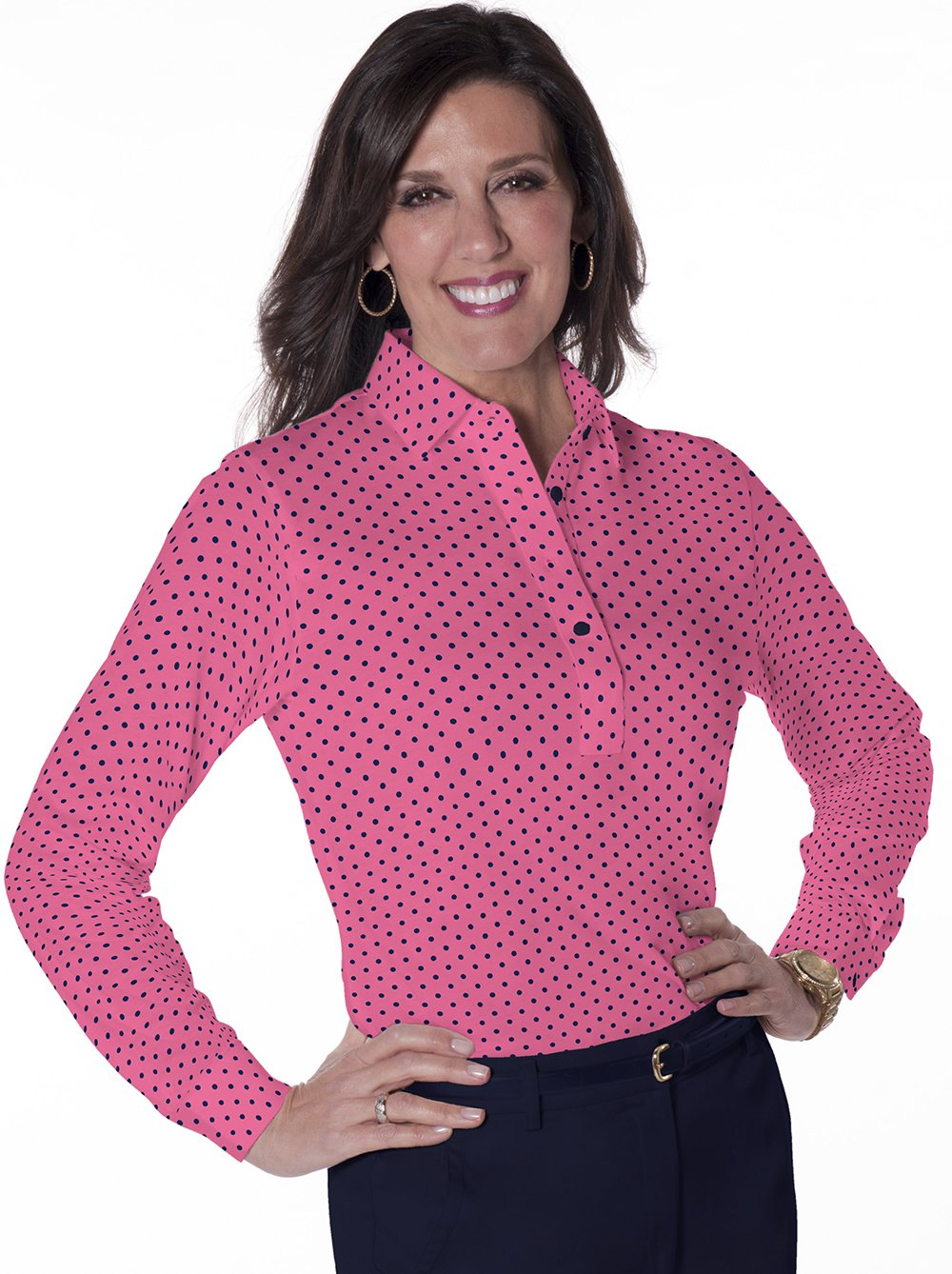 Petites Long Sleeve Print Polo Shirts | On the Dot 16G - Leonlevin
