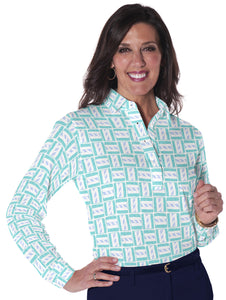 Petite Long Sleeve Print Polo</br> Hey Sailor! 19F - Leonlevin