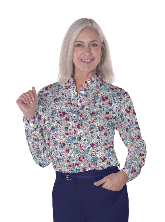 Ladies Long Sleeve Print Polo Shirts Fancy This 21A
