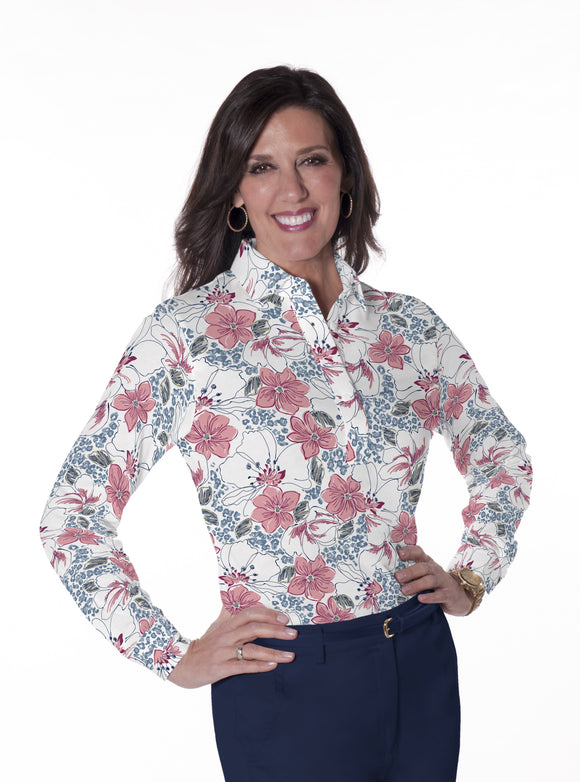 Ladies Long Sleeve Print Polo Shirts <br> Force of Nature 21B
