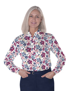 Ladies Long Sleeve Print Polo Shirts Magic Garden 21C - Leonlevin