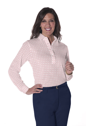 Ladies Long Sleeve Print Polo Shirts <br> Virtuoso 21D