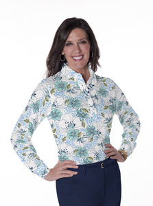 Ladies Long Sleeve Print Polo Shirt Force of Nature 22B