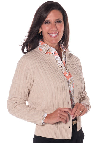 Cotton Cable Cardigan Sand S50 - Leonlevin