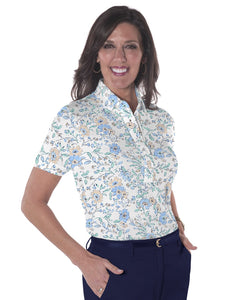 Petite Short Sleeve Print Polo Shirts</br>Easy Breezy 05Q