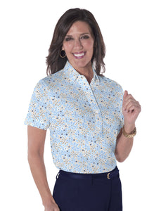 Petite Short Sleeve Print Polo Shirts</br>Sweet Serenade 05R