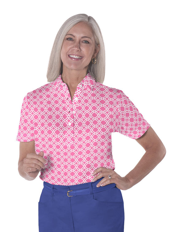 Petite Short Sleeve Print Polo Shirts</br>Tiled & True 09R