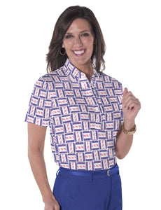 Petite Short Sleeve Print Polo Shirts</br>Hey Sailor! 09U