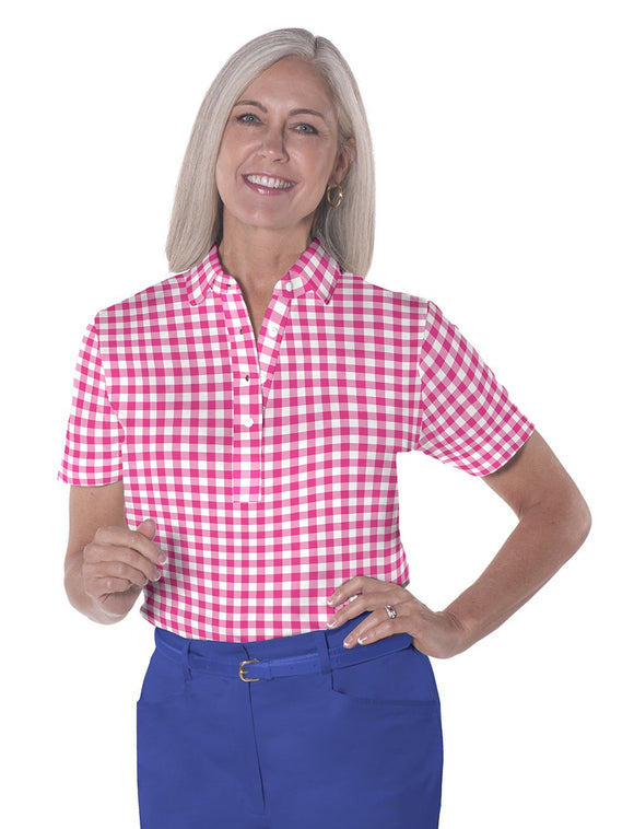 Petite Short Sleeve Print Polo Shirts</br>Check it Out 09W