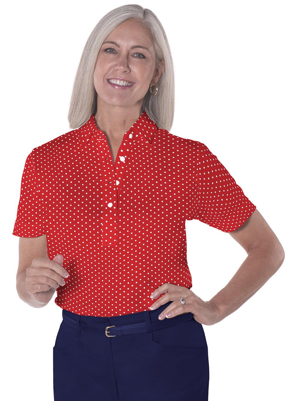 Petite Short Sleeve Print Polo Shirts</br>Dot to Dot 10A