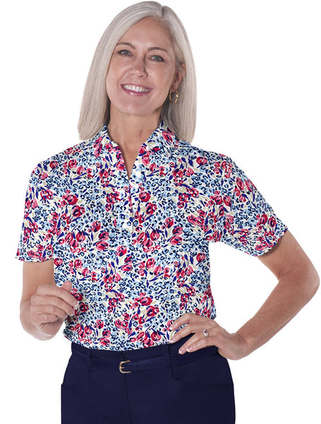 Petite Short Sleeve Print Polo Shirts</br>Jungle Flower 10Q