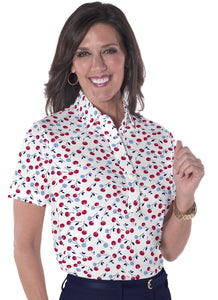 Petite Short Sleeve Print Polo Shirts</br>Cherry Jubilee 10T