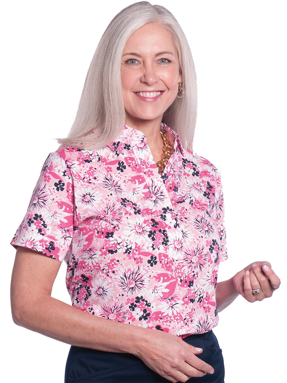 Petite Short Sleeve Print Polo Shirts</br>Always and Forever 16A