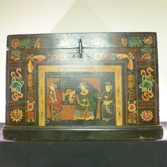 Black Lacquered Hand-Painted Chinese Trunk - CH-2