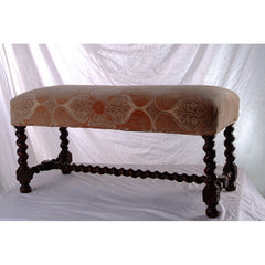 Hand-carved Oak Italianate Bench with Barley Twist Legs and Stretcher - IT-3