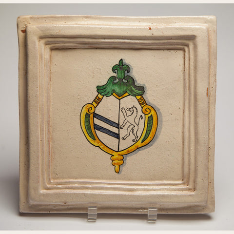 Handmade Terracotta Painted and Glazed Tile - 0342