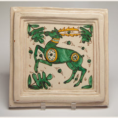 Handmade Terracotta Painted and Glazed Tile - 0344
