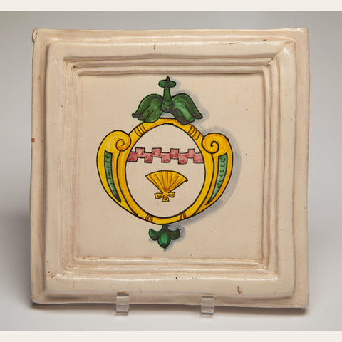Handmade Terracotta Painted and Glazed Tile - 0345