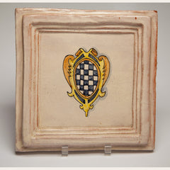 Handmade Terracotta Painted and Glazed Tile - 0346