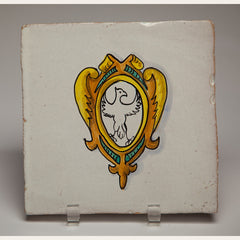 Handmade Terracotta Painted and Glazed Tile - 0348