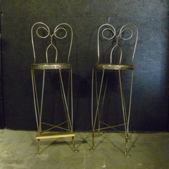 Pair of Steel Wire and Wood Tall Ice Cream Parlor Chairs - VINT-1
