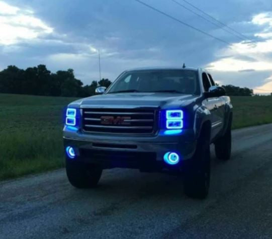 GMC Sierra 2007-2013 RGB Halo Headlights  | ONEUPLIGHTING - Oneuplighting