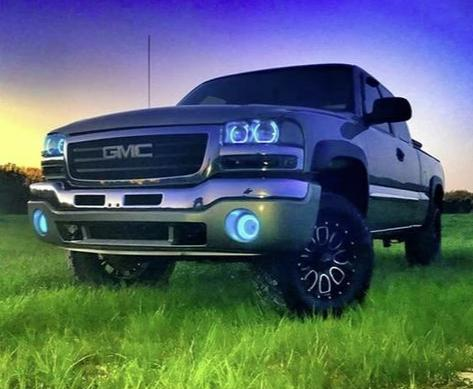 GMC Sierra 1999-2006 | Yukon 2000-2006 RBG Color Changing Halo Headlights | ONEUPLIGHTING - Oneuplighting