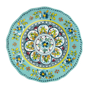 Madrid Turquoise 12 piece Melamine Dinnerware Set (dinner plate, salad plate and small bowl)