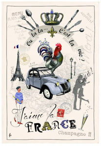 "I Love France 19""x28"" Cotton French Image Dishtowel"