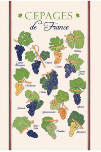 "Cepages de France 19""x28"" Cotton French Image Dishtowel"