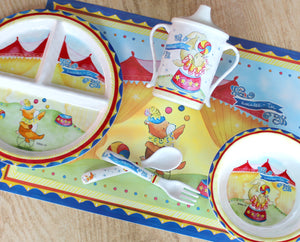 Circus Bear Melamine Set for Baby (Plate, Cup, Bowl, Utensils & Placemat)