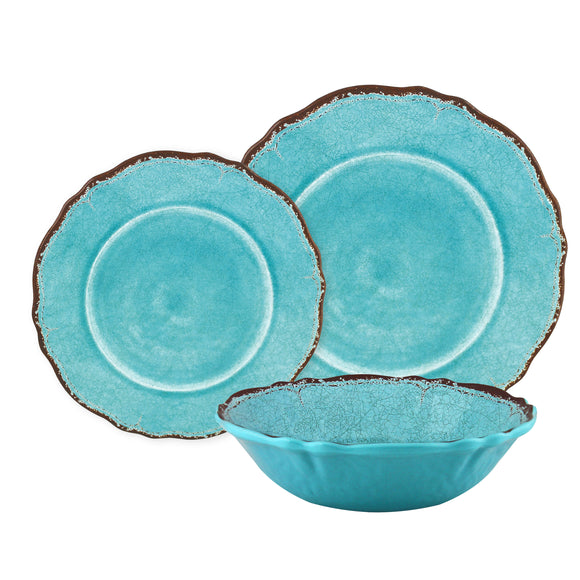 Antiqua Turquoise 12 piece Melamine Dinnerware Set