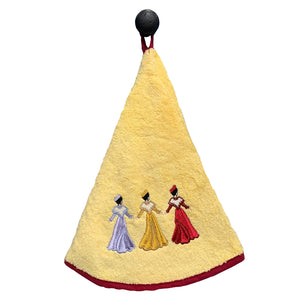 "Dancers Yellow 28"" Round Terry Dishtowels"